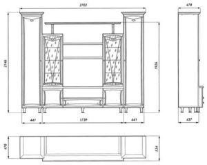 Набор корпусной мебели «Нижегородец-77». Чертёж