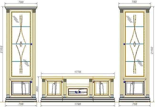 Набор мебели для гостиной «Нижегородец-92Ф». Чертёж