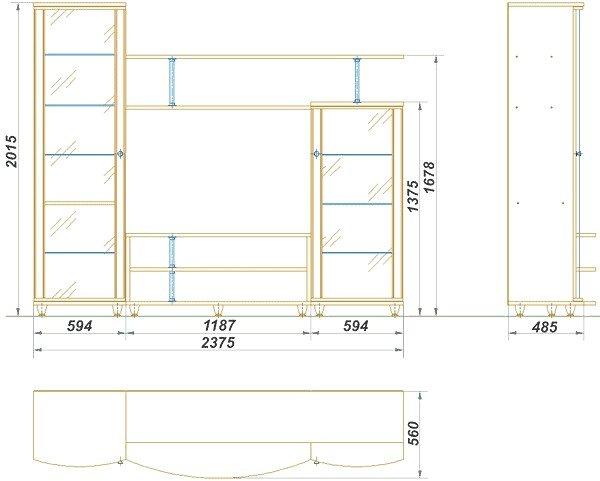 Набор мебели для гостиной «Нижегородец- 95Ф». Чертёж