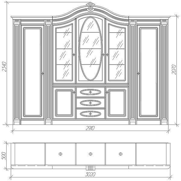 Набор корпусной мебели «Нижегородец-86.1», чертёж