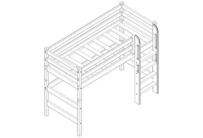 """Полувысокая кровать """"Соня"""" с прямой лестницей. Чертёж"""