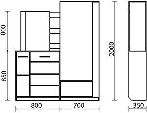 Lorem-11 Набор мебели для прихожей от фабрики Пирамида. Чертёж