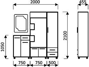 Lorem-3 Набор мебели для прихожей от фабрики Пирамида. Чертёж