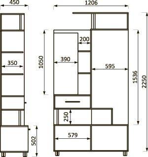 Lorem-4 Набор мебели для прихожей от фабрики Пирамида. Чертёж