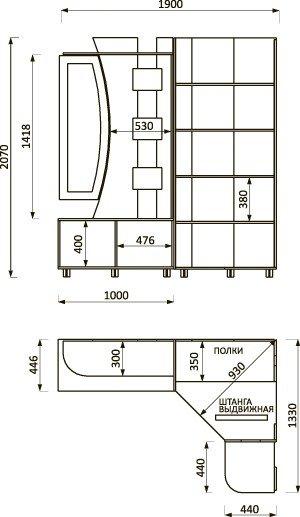 Lorem-7 Набор мебели для прихожей от фабрики Пирамида. Чертёж