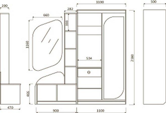 Lorem-9-10 Набор мебели для прихожей. Мебельная фабрика Пирамида. Чертёж