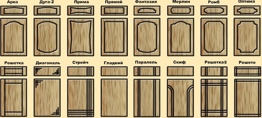 Варианты дизайна фасада кухонных шкафов